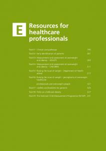 Resources for healthcare professionals