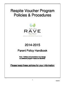 Respite Voucher Program Policies & Procedures