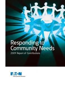 Responding to Community Needs 2009 Report of Contributions