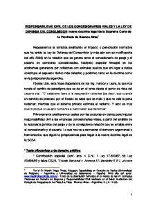 RESPONSABILIDAD CIVIL DE LOS CONCESIONARIOS VIALES Y LA LEY DE DEFENSA DEL CONSUMIDOR: