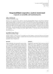 Responsabilidad corporativa y justicia transicional Corporate accountability and transitional justice