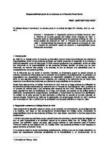 Responsabilidad penal de la empresa en el Derecho Penal Suizo