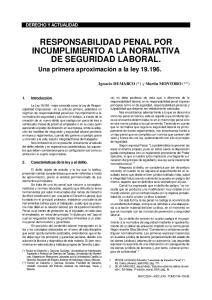 RESPONSABILIDAD PENAL POR INCUMPLIMIENTO A LA NORMATIVA DE SEGURIDAD LABORAL
