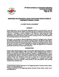 RESPONSE OF CONCRETE LIQUID CONTAINING STRUCTURES IN DIFFERENT SEISMIC ZONES