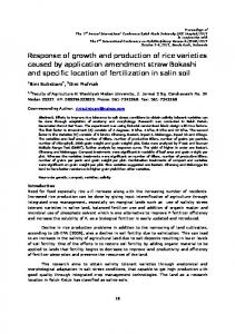 Response of growth and production of rice varieties caused by application amendment straw Bokashi and specific location of fertilization in salin soil