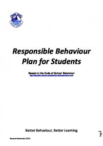 Responsible Behaviour Plan for Students