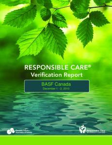 RESPONSIBLE CARE Verification Report