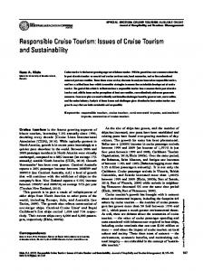 Responsible Cruise Tourism: Issues of Cruise Tourism and Sustainability