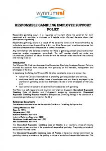 RESPONSIBLE GAMBLING EMPLOYEE SUPPORT POLICY