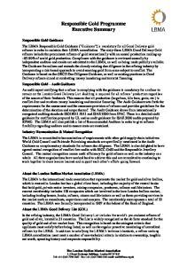 Responsible Gold Programme Executive Summary