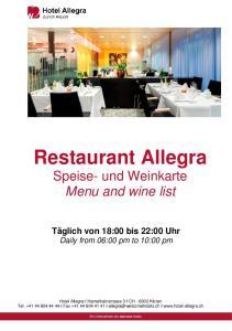 Restaurant Allegra Speise- und Weinkarte Menu and wine list