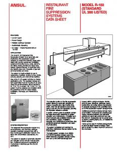 RESTAURANT FIRE SUPPRESSION SYSTEMS DATA SHEET