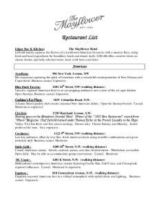 Restaurant List. American