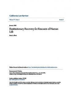 Restitutionary Recovery for Rescuers of Human Life