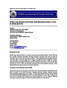 Restless Legs Syndrome and Periodic Limb Movements in Sleep: a review for family physicians