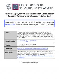 Restless Legs Syndrome and Risk of Incident Cardiovascular Disease in Women and Men: Prospective Cohort Study