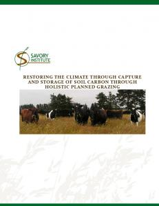RESTORING THE CLIMATE THROUGH CAPTURE AND STORAGE OF SOIL CARBON THROUGH HOLISTIC PLANNED GRAZING