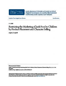Restricting the Marketing of Junk Food to Children by Product Placement and Character Selling