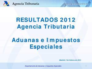 RESULTADOS 2012 Agencia Tributaria. Aduanas e Impuestos Especiales