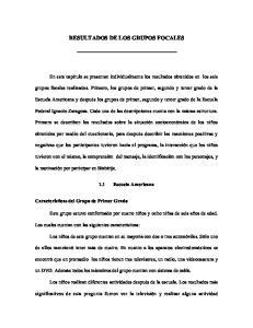 RESULTADOS DE LOS GRUPOS FOCALES