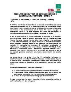 RESULTADOS DEL TEST DE CONSUMIDORES DE MANZANA DEL PROYECTO ISAFRUIT