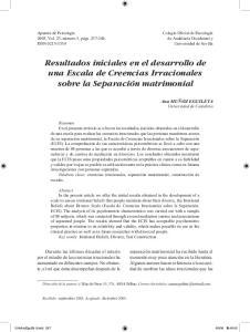 Resultados iniciales en el desarrollo de una Escala de Creencias Irracionales sobre la Separación matrimonial