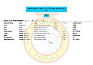 RESULTADOS PRUEBAS DE TRABAJO (OBEDIENCIA) 2012