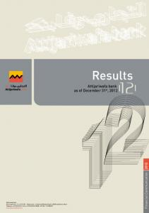 Results. Attijariwafa bank as of December 31 st, Financial Communication Attijariwafa bank Results at 31 december 2012