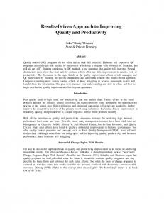 Results-Driven Approach to Improving Quality and Productivity