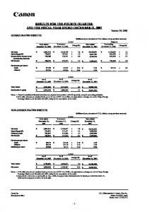 RESULTS FOR THE FOURTH QUARTER AND THE FISCAL YEAR ENDED DECEMBER 31, 2007 January 30, 2008