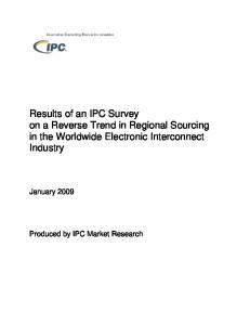 Results of an IPC Survey on a Reverse Trend in Regional Sourcing in the Worldwide Electronic Interconnect Industry