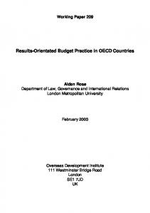 Results-Orientated Budget Practice in OECD Countries