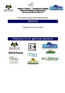 RESULTS. Thank you to our generous sponsors: