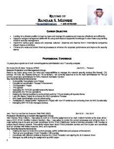 RESUME OF BANDAR S. MUNSHI