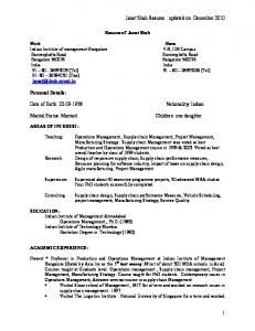 Resume of Janat Shah. Indian Institute of management Bangalore. Bangalore Bangalore