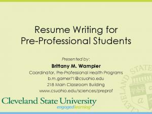 Resume Writing for Pre-Professional Students