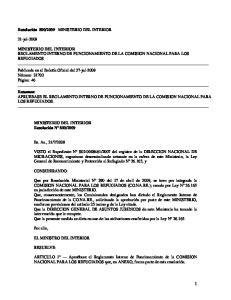 Resumen: APRUEBASE EL REGLAMENTO INTERNO DE FUNCIONAMIENTO DE LA COMISION NACIONAL PARA LOS REFUGIADOS
