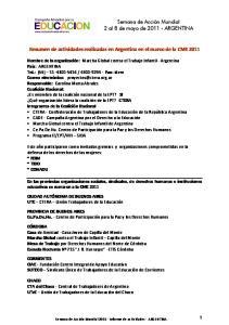 Resumen de actividades realizadas en Argentina en el marco de la CME 2011