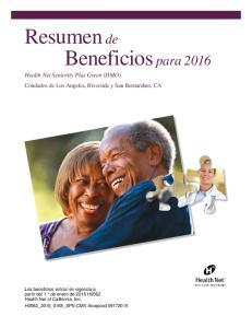Resumen de Beneficios para 2016