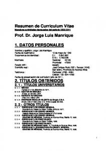 Resumen de Curriculum Vitae Menciona actividades destacadas del periodo