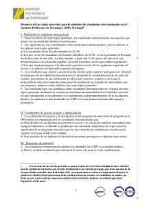 Resumen de las reglas generales para la admisión de estudiantes internacionales en el Instituto Politécnico de Portalegre (IPP), Portugal 1