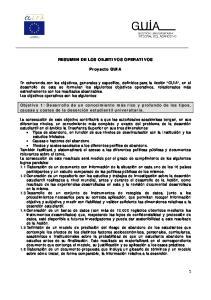 RESUMEN DE LOS OBJETIVOS OPERATIVOS. Proyecto GUIA