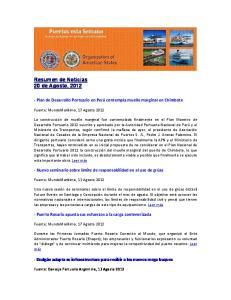 Resumen de Noticias 20 de Agosto, 2012