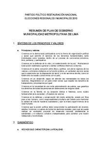 RESUMEN DE PLAN DE GOBIERNO MUNICIPALIDAD METROPOLITANA DE LIMA