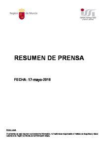 RESUMEN DE PRENSA. Aviso Legal
