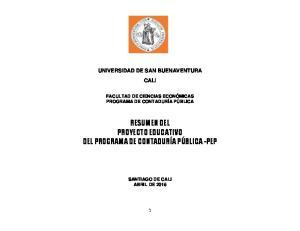RESUMEN DEL PROYECTO EDUCATIVO DEL PROGRAMA DE CONTADURÍA PÚBLICA -PEP
