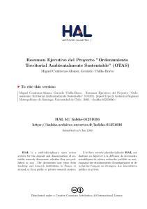Resumen Ejecutivo del Proyecto Ordenamiento Territorial Ambientalmente Sustentable (OTAS)