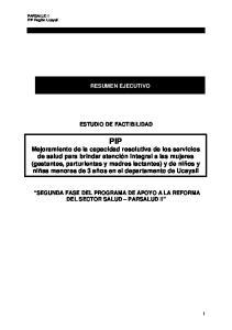 RESUMEN EJECUTIVO ESTUDIO DE FACTIBILIDAD
