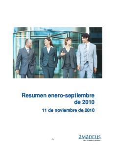 Resumen enero-septiembre de de noviembre de 2010