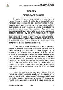 RESUMEN ESCRITURA DE CUENTOS